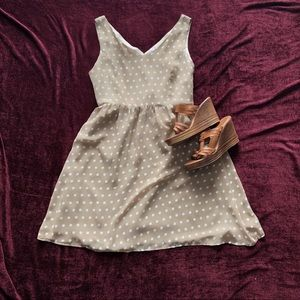 Love Notes Polka Dot Dress Tan & White